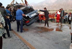 بوشهر؛ ۵ کشته در تصادف پراید و کامیون