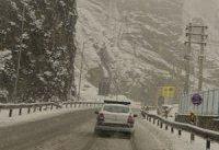 بارش سنگین برف در جاده کرج - چالوس