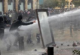 درگیری شدید نیروهای امنیتی لبنان با معترضان در نزدیکی پارلمان؛ بیش از ...
