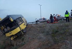 ۳ کشته و ۱۳ مصدوم در پی واژگونی اتوبوس مسافربری