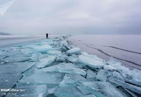 دریاچه یخ زده بایکال به روایت تصویر