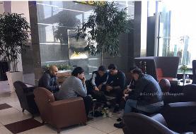 جلسه فنی جالب مجیدی و دستیارانش در فرودگاه/عکس