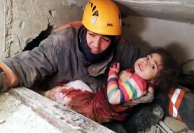 فیلم   نجات یک دختر از زیر آوار زلزله ترکیه بعد از ۲۴ساعت