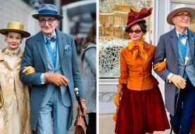 تصاویر |استایل جذاب زوج سالمندی که متفاوت لباس میپوشند