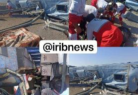 عکس | ۶ کشته در واژگونی یک اتوبوس در جاده قم به کاشان