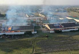 (تصاویر) حمله خمپارهای ارمنستان به کارخانه پنبه تَرتَر آذربایجان