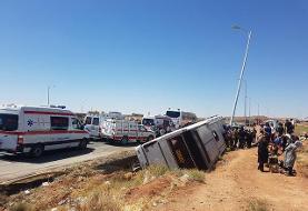 واژگونی اتوبوس در محور قم - کاشان