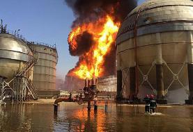 وقوع آتش سوزی در واحد آروماتیک پتروشیمی بندر امام +فیلم