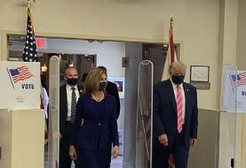 عکس | ترامپ رای خود را به صندوق انداخت | ترامپ: به شخصی به نام ترامپ رای دادم!