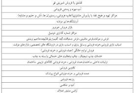 فهرست گروههای شغلی که از روز دوشنبه تعطیل خواهند شد (جدول)