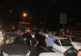 ببینید | تصادف زنجیرهای ۵ خودرو در مشهد
