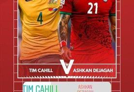 نبرد اشکان دژاگه و ستاره تیم ملی استرالیا در اینستاگرام/عکس