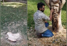 ببینید   قطع تندیس شجریان در پارک ملت مشهد!