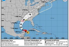 Zeta is now a Cat 1 hurricane, and the Florida Panhandle is under a tropical storm watch