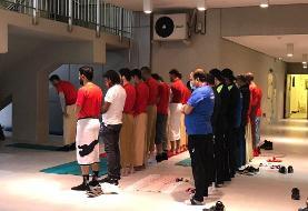 تصاویری از اقامه نماز اعضای مسلمان تیم الدحیل قبل از تمرین