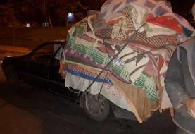 توقیف پژویی با بار کامیون در تهران