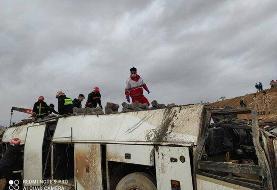 مرگ ۴ مسافر در حادثه چپ کردن اتوبوس در اصفهان