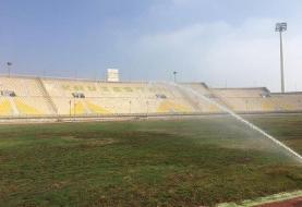 ترمیم سیستم آبیاری چمن ورزشگاه غدیر اهواز پس از یک دهه