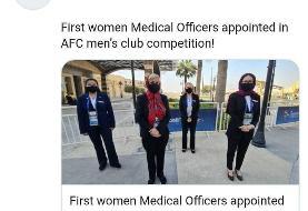 عکس / اولین حضور زنان پزشک در مسابقات فوتبال باشگاهی مردان آسیا / حضور دو ایرانی در تیم پزشکی