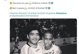 واکنش نیمار به درگذشت مارادونا/عکس