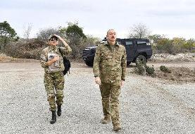 ببینید | بازدید خبرساز رئیس جمهور آذربایجان و همسرش از منطقه آغدام