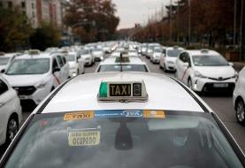 (تصاویر) اعتصاب رانندگان تاکسی در مادرید