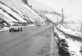بارش باران و برف در جاده کرج - چالوس