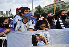 مراسم وداع با مارادونا با تنش آغاز شد + تصاویر