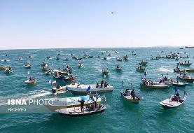 تصاویر | رژه ۱۰۰۰ شناور در سواحل نیلگون خلیج فارس | نمایش اقتدار بسیج دریایی منطقه یکم ندسا