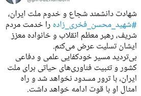 پیام تسلیت شهردار تهران در پی شهادت دکتر فخری زاده
