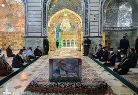 تصاویر | طواف پیکر شهید فخریزاده در حرم حضرت معصومه(س)