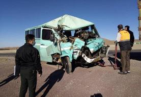 تصادف خونین وانت نیسان و ۵ مینی بوس در خوزستان