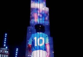 (عکس) مارادونا روی برج معروف امارات