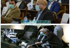 عکسی از رفتار عجیب قالیباف در روز تقدیم بودجه ۱۴۰۰ به مجلس