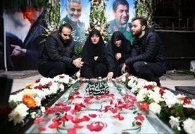 فرزندان سردار بر مزار سرباز قاسم سلیمانی | رونمایی از تندیس سردار دلها در مرز فلسطین اشغالی