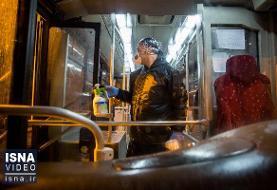 ویدئو / ضدعفونی کردن اتوبوسهای تهران در پی شیوع ویروس کرونا