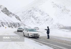 بارش برف و باران در محورهای ۱۴ استان
