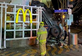 A California man drove his Jeep off the roof of a six-level parking garage and crashed into a ...