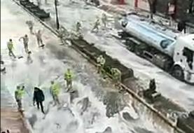 فیلم   گندزدایی متفات خیابانهای وان ترکیه   آب و کف علیه کرونا