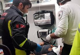 تصادف عابر پیاده، دو خودرو و یک کامیون در اتوبان فتح