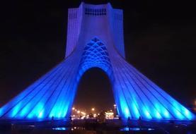 برج آزادی به مناسبت روز جهانی اتیسم آبی شد