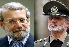 وزیر دفاع جویای حال لاریجانی پس از ابتلا به کرونا شد