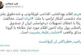 شمخانی: مخالفت آمریکا با درخواست ایران از صندوق بینالمللی پول مصداق واقعی جنایت علیه بشریت است