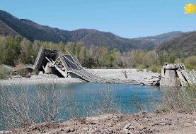 (تصاویر) فروریختن پل ۲۶۰ متری در ایتالیا