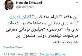 توئیت حسین انتظامی درباره اعطای وام به۲۱ فیلم متقاضی اکران نوروز ۹۹