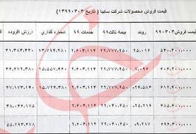 قیمت جدید محصولات سایپا اعلام شد؛ قیمت خوروهای سایپا ۴ خرداد ۹۹