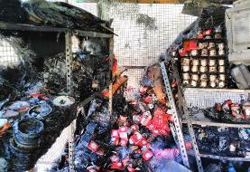 آتش سوزی در یک ساختمان تجاری در خیابان سعدی/ یک آتش نشان مصدوم شد
