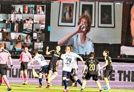 (عکس) ازسرگیری لیگ فوتبال دانمارک با حضور آنلاین هواداران!