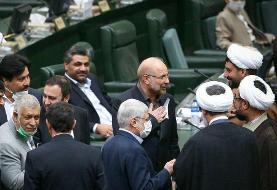 عکس | نگاه عجیب میرسلیم به قالیباف پس از تعیین رئیس مجلس