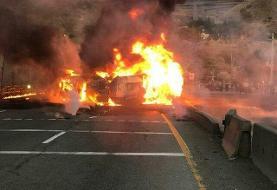 (تصاویر) جزئیات حادثه واژگونی تانکر سوخت در جاجرود